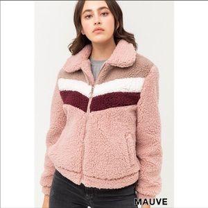 NWT Mauve Contrast Color Block Sherpa Jacket